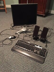 Computer monitor, keyboard and speakers