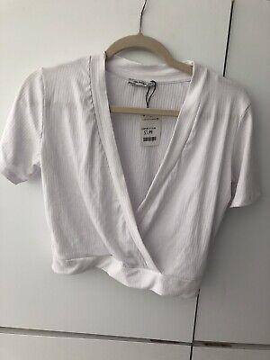 Zara Trafaluc White Crop Top Shirt, V-Neck Sz L **NWT**