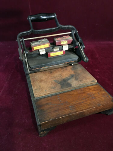 Antique Miniature Desktop Printing Press for Cards