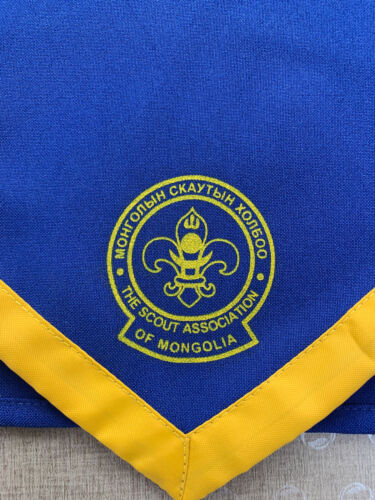 Mongolia Boy Scouts Logo Scarf NECKERCHIEF Blue Yellow