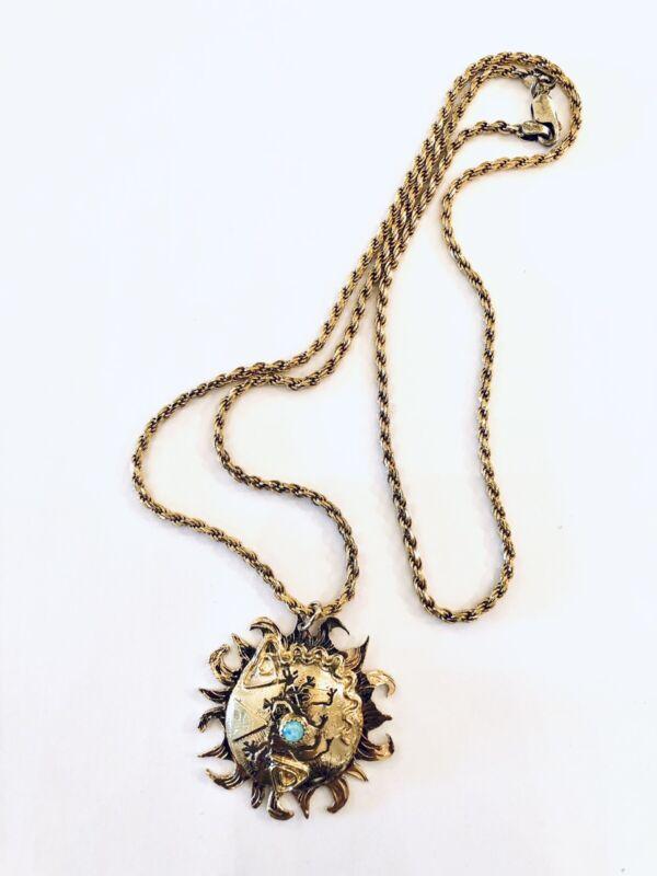 Ann Allen Modernist Empowering Sterling Gold Gilt Pendant Necklace Stars Moons