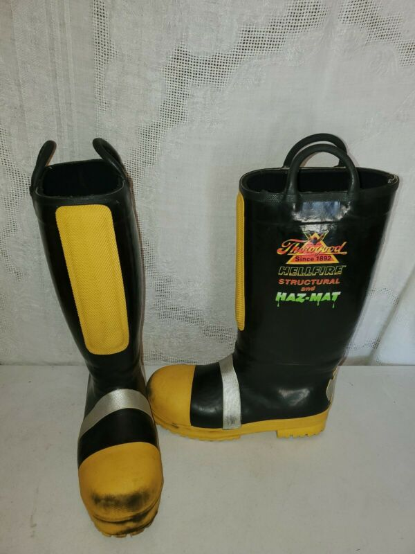 Thorogood Hellfire Boots MENS US 10.5W Structural Firefighting Haz-Mat 807-6004
