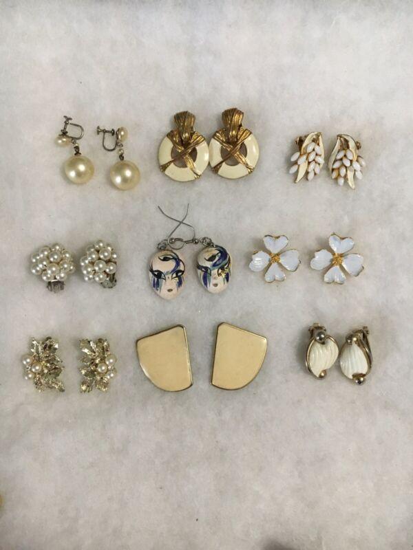 Gold Tone Earrings Lot X 9 Used