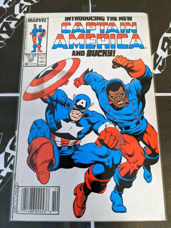 Captain America #334 1st app bucky Hoskins Battlestar 1988  Newsstand🔥