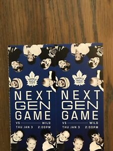 Leafs vs Wild - Jan 3 - Selling for Face Value - $106/Ticket