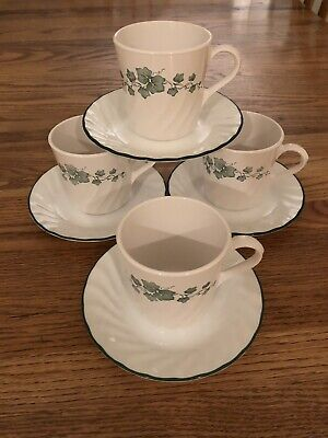 Corning Corelle CALLAWAY Green Ivy - Set of 4 Coffee Cups Mugs & 4 Saucers Mint! ()