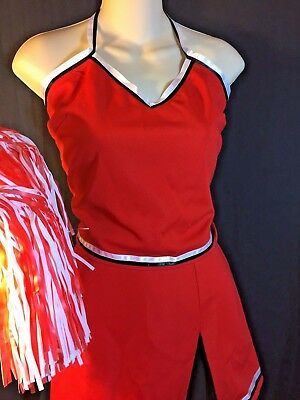 NEW Cheerleader Costume Uniform Skirt + Pom Set Dress Up Red & Black L XL 12 14