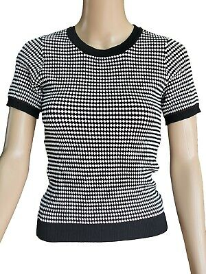 ZARA Women StretchBlouse Wht/Blk Geometric T-Shirt Knited Short Sleeve Top Sze M