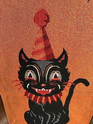 Halloween Tapestry Black Cat Trick or Treat - Over 1 foot wide & 3 feet long