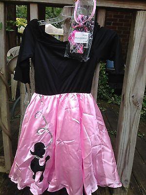 Girls Miss Sock Hop Costume 4 Piece Set Dress Scarf Belt band  girls size M 8-10](Miss Sock Hop Costume)