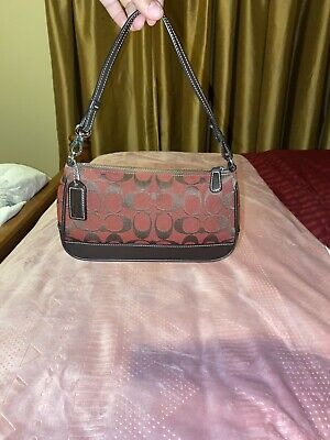 WOMENS SMALL COACH PURSE BAG - BROWN AND RED - LEATHER