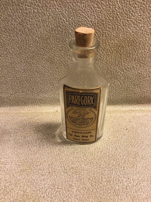 Vintage Medicine Hand Crafted Bottle, Paregoric w/Opium, Abraham Cut Rate Drug