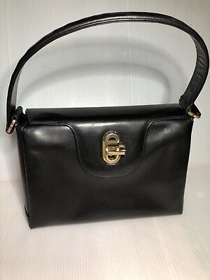 "1950's Vintage Gucci Glossy Black Leather Kelly Bag 10"" L x 7""H x 4.5""W"