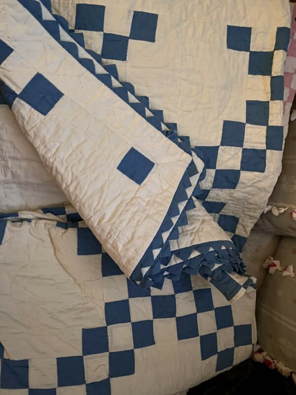 "Antique Quilt  ""Double Irish Chain"" With Sawtooth Edge PRISTINE!!"
