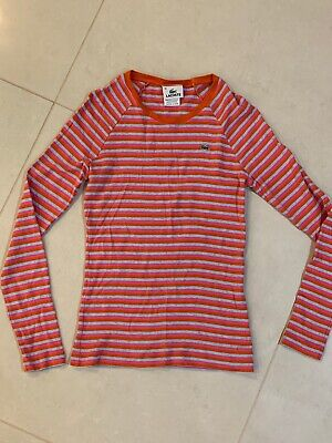 Lacoste Women Cotton Pink Gray Crew neck Long Sleeves Top Size 38 / Small