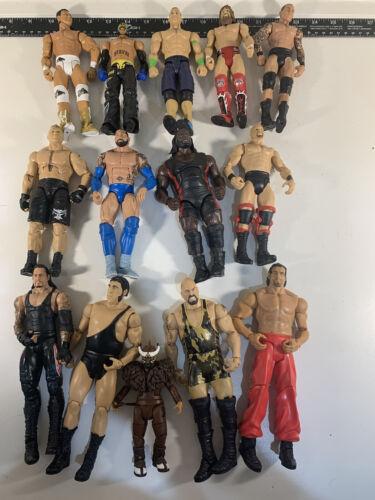 Lot Of 14 WWE Wrestling Action Mattel Figures - $50.00