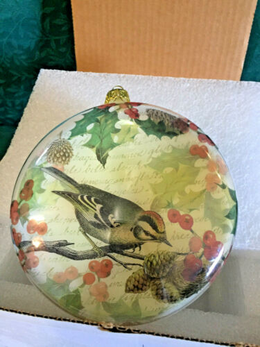 """Vintage Large  6"""" Nuthatch Ornament Glass Sphere Christmas Ornament Hand painted"""