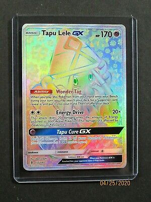 Pokemon TAPU LELE GX 155/145 - FULL ART RAINBOW HOLO - (NM+)