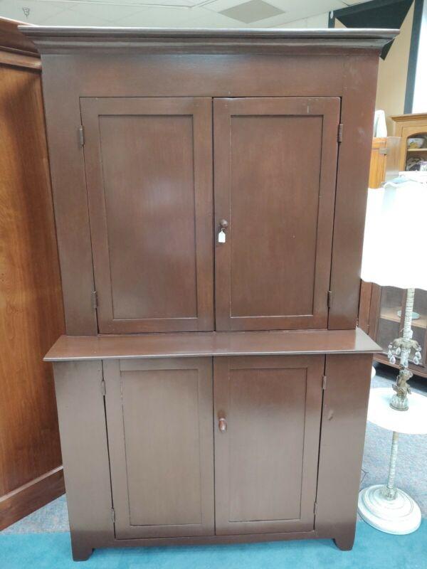Antique Walnut Blind Door Stepback Cabinet Cupboard Hutch