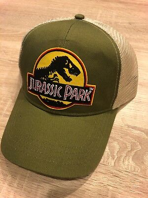 Jurassic Park Hat Trucker Embroidered Patch Cap Dinosaur Movie Olive Tan - Dinosaur Hat