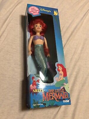 Ariel Little Mermaid Tyco Disney Movie Doll in Box Vintage 90s 1991 Fabric Tail