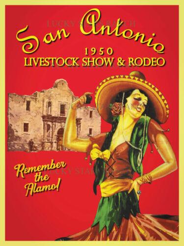 VINTAGE RODEO POSTER - San Antonio Live Stock Show 1950 - Texas