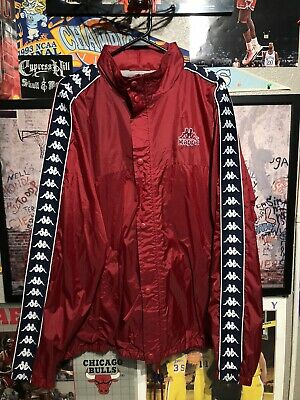 Vintage Kappa Coach Jacket Burgandy Sz XL Tuck Away Hood