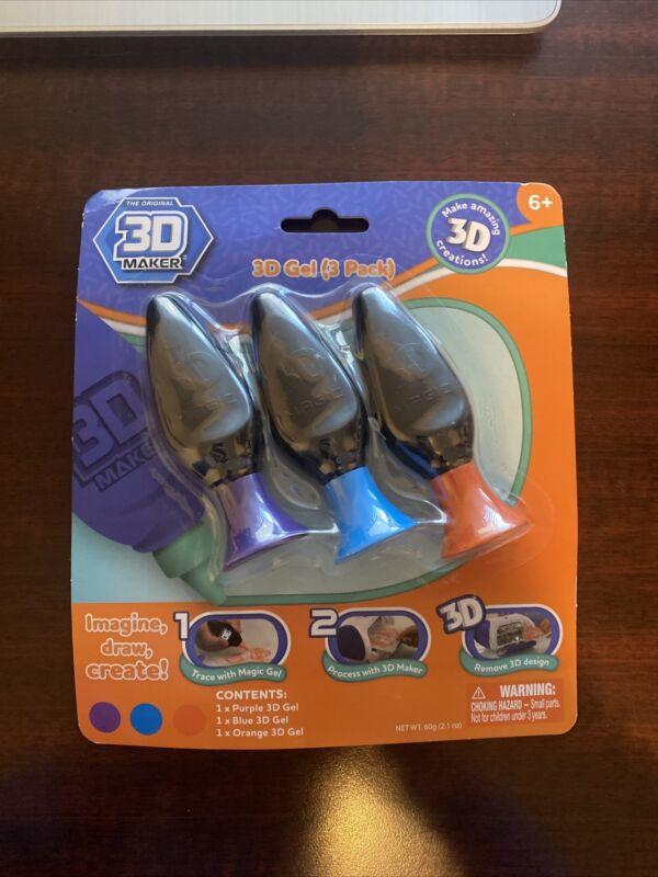 Mookie The Original 3D Maker 3 Gel Refill (3 pack) Purple - Blu - Orange