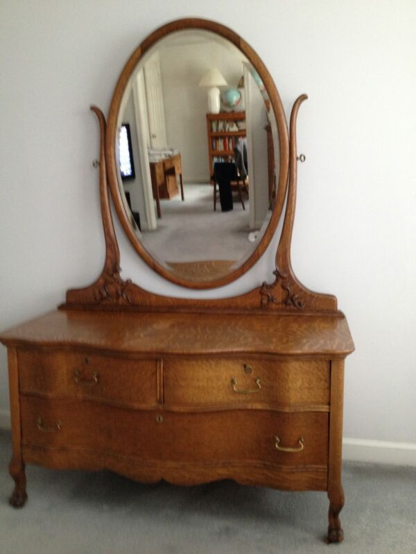 Antique Oak Chest and Dresser and Nightstand