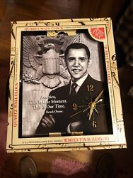 Barack Obama  Quartz Wall Clock  US President NEW 9x12 Black Square time NWT