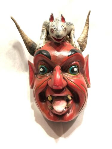 Mexican antique vintage ritual ceremonial Guerrero Diablo Devil dance mask