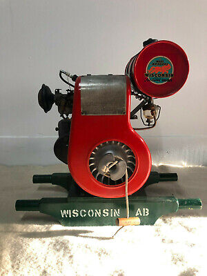 Antique Restored Wisconsin Type Ab Engine On Stand Original Decals