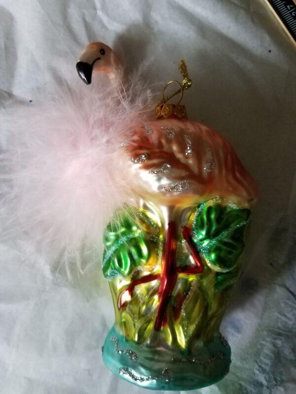 Flamingo with Boa Feathers Christmas Holiday Ornament ~ NWT