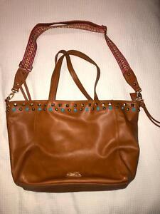 Tan And Blue Stud Handbag