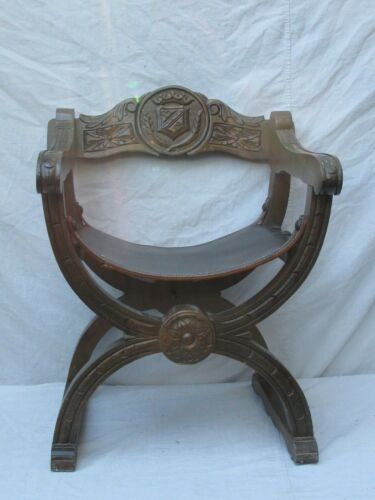 Antique Spanish Savonarola Chair Wood Carved Leather Seat