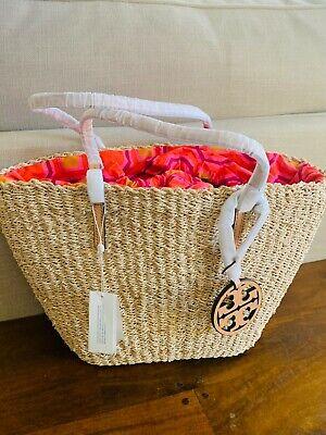 $298 NWT Tory Burch Straw Tote Bag - Drawstring Closure
