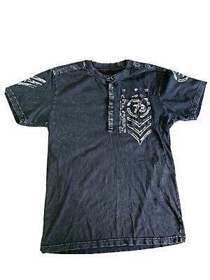 Affliction Henley Style Mens Shirt Size X Large Black Acid Wash