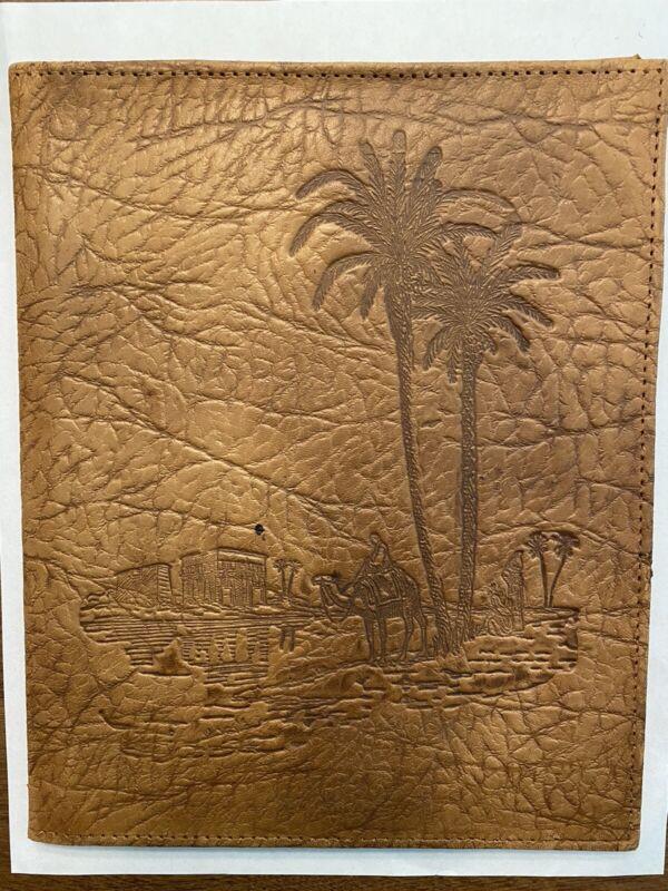 Vintage Leather Camel Desert Middle Eastern Souvenir Photo Portfolio Sleeve B1