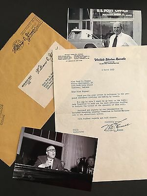 William E. Jenner Signed Letter Senator Autograph Rare