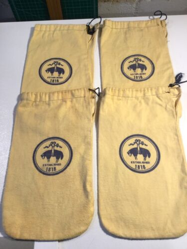 Lot of 4 Brooks Brothers Shoe Bags - Cotton Flannel Drawstring Yellow
