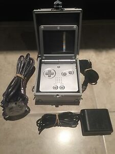 Platinum/Silver Nintendo Gameboy Advance SP, link cable and case