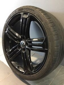 """VW GOLF R 19"""" GENUINE BLACK ALLOY WHEELS AND TYRES Carramar Fairfield Area Preview"""
