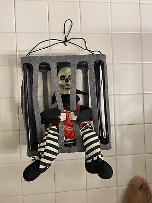 Hanging Skeleton in A Cage Scary Animated Halloween Party Decoration Prop