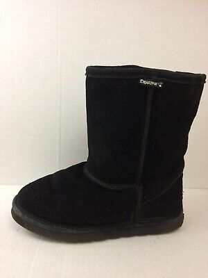 Bear Paw Womens 7 Med Black Suede Leather Boots Slip On Snow Winter Wool Lining