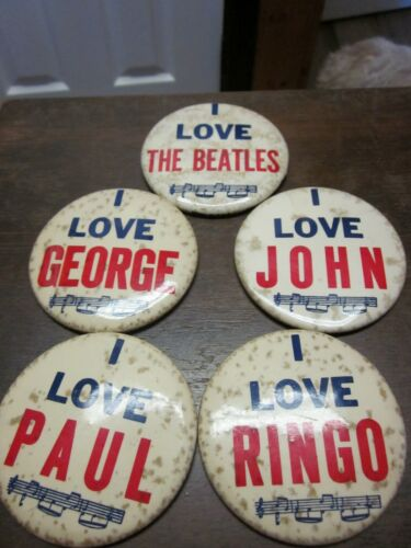 SET OF 5 I LOVE THE BEATLES PINBACK BUTTONS 1960