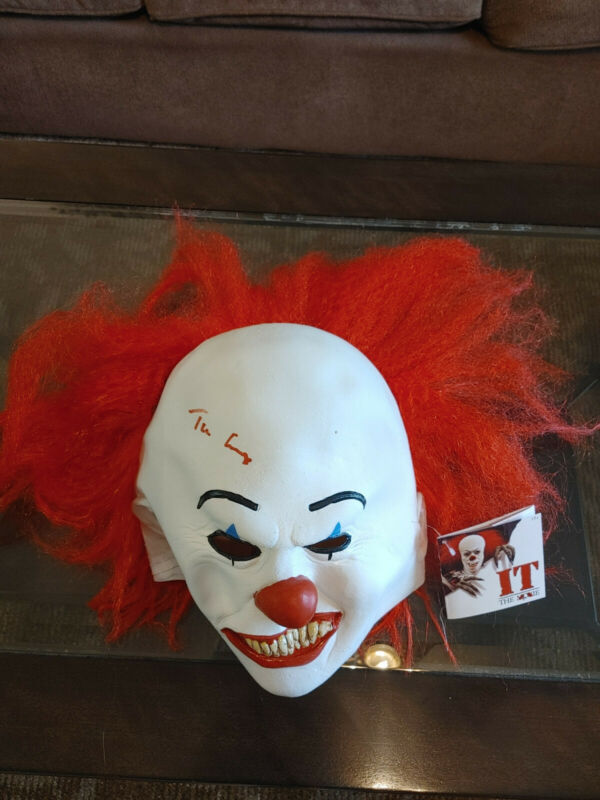 Signed Tim Curry Pennywise Mask Stephen King