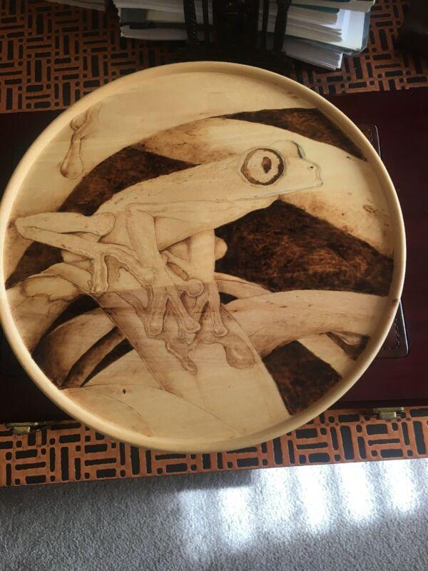 Original Handcrafted Wooden Frog Plaque.