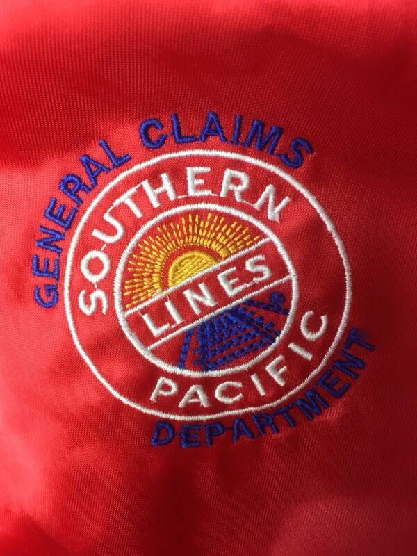 Vintage 1980s/90s Southern Pacific Lines Railroad Red Satin Logo Jacket Sz M