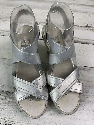 Impo Stretch Studded Strappy Wedge Slip On Sandals Gray Silver Womens