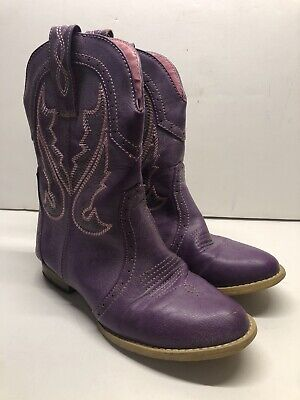 Purple Cowboy Cowgirl Boots Size 2 Girls Western SEE DETAILS AND PICS